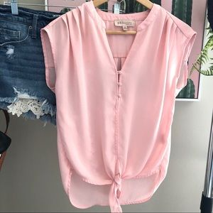 Philosophy Pink Front Tie Xs Sleeveless Blouse